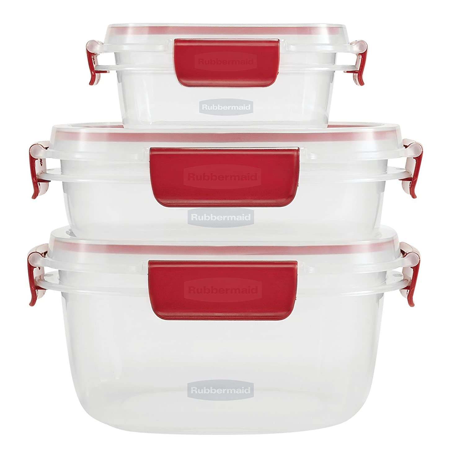 Rubbermaid Easy Find Lids 6-Piece Food Storage Container Set, Clear with Red Tabs
