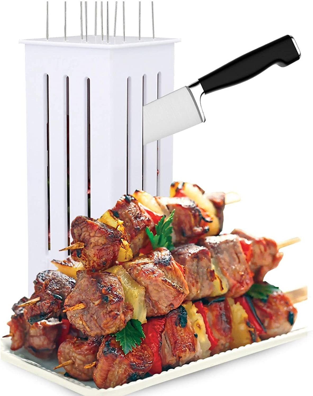 Kebab Maker Box 64 Trous en Acier Inoxydable Rapid Wear Viande Brochette Machine Facile Barbecue Brochettes Maker BBQ Outil