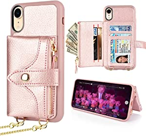 LAMEEKU Wallet Case Compatible with iPhone XR, iPhone XR Wallet Case Zipper Case with Wrist Chain Crossbody Strap Card Holder Leather Case for iPhone XR, 6.1 inches-Rose Gold