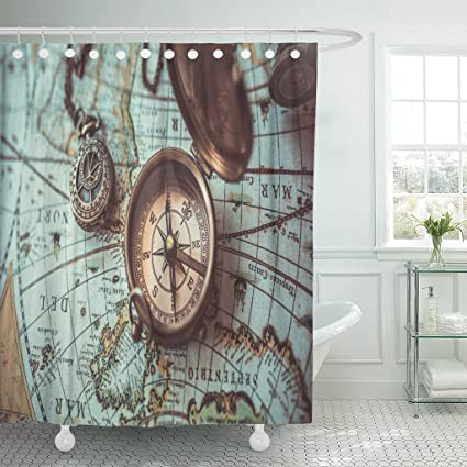Emvency Fabric Shower Curtain Curtains With Hooks History Antique Bronze Emblem Compass Mini Necklace Pendant And