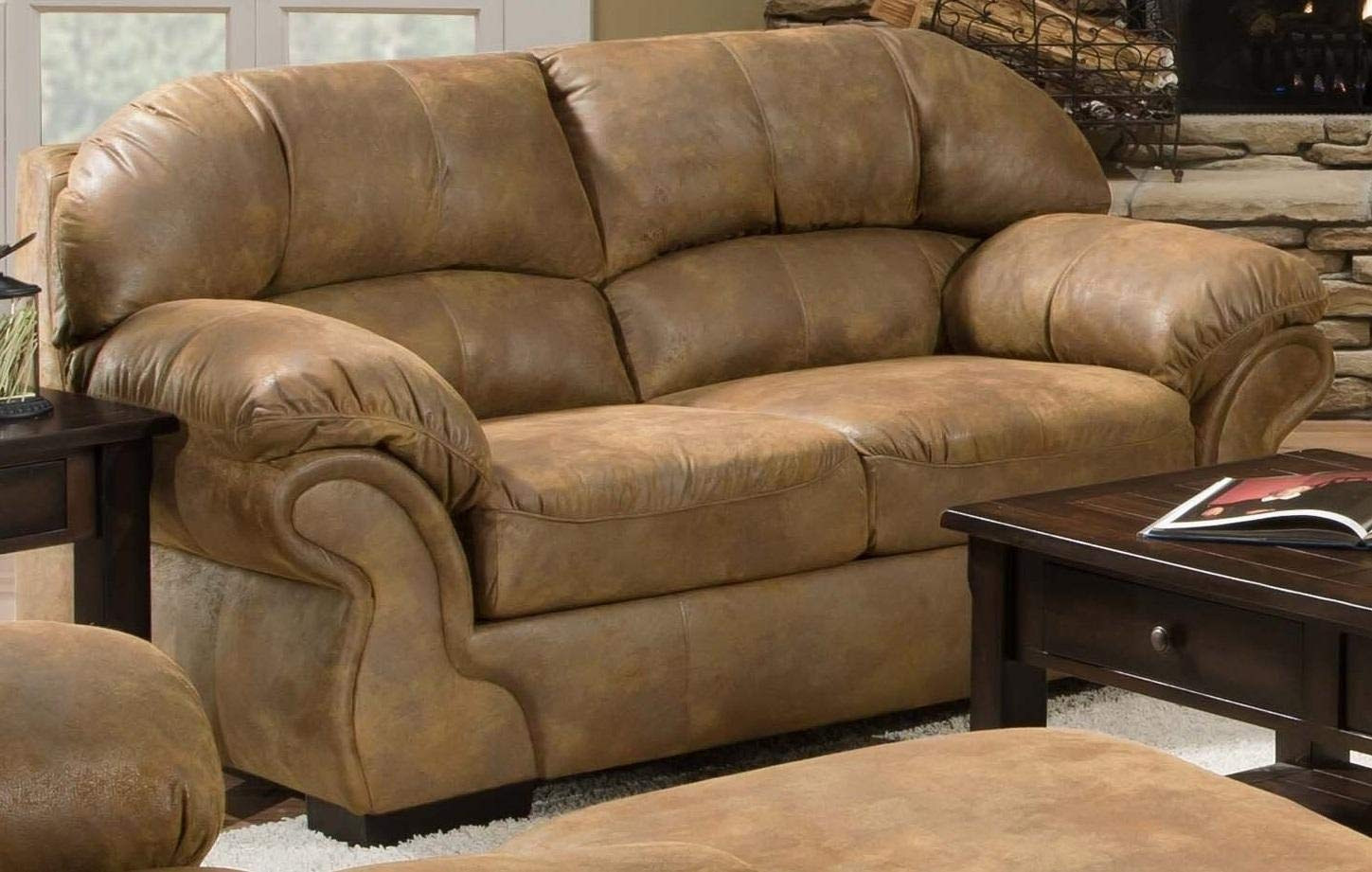 Simmons Upholstery Pinto 6270-02 71'' Loveseat with Split Back Cushion, Plush Padded Arms, Microfiber Upholstery and Block Feet in Tobacco