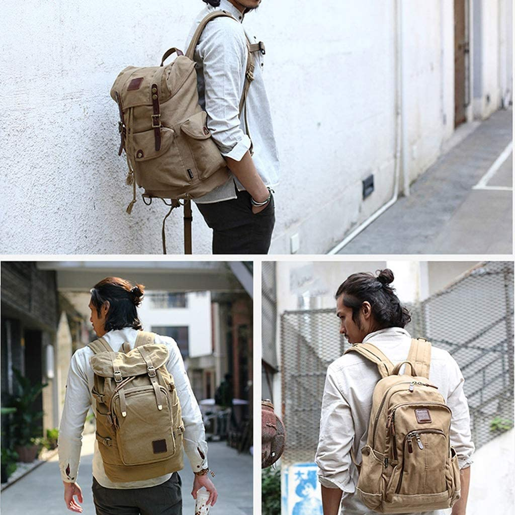 WCJ Retro Casual Canvas Bag Mens Travel Bag Mountaineering Bag Large Capacity Travel Backpack