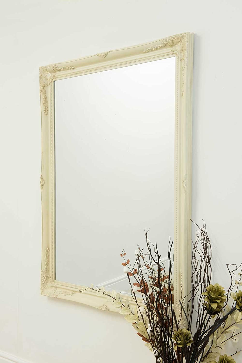 Large Full Length Leaner Classic Ornate Styled Silver Mirror 5ft7 x 2ft7 (170cm x 79cm) Ivory