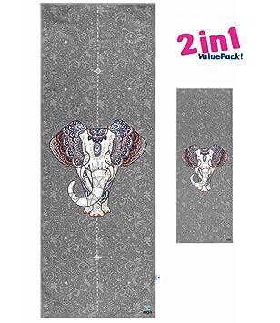 IUGA Impreso de toalla de la Yoga nos Set de toallas de yoga Elefante: Amazon.es: Deportes y aire libre