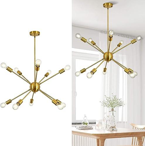 Brushed Gold Sputnik Chandelier Lighting 10 Light,Mid Century Modern Pendant Light Fixture