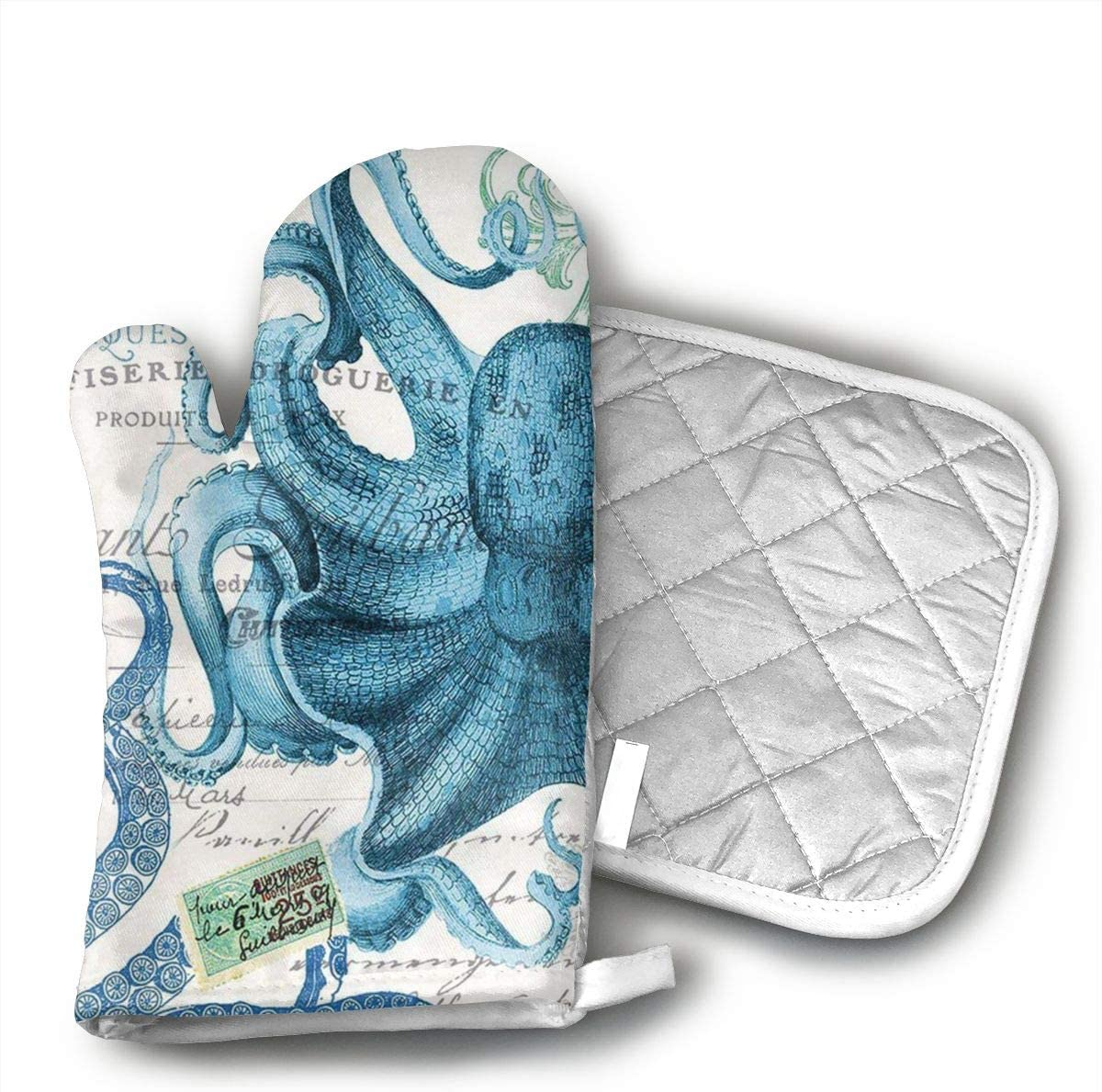 Wiqo9 Octopus Oven Mitts and Pot Holders Kitchen Mitten Cooking Gloves,Cooking, Baking, BBQ.