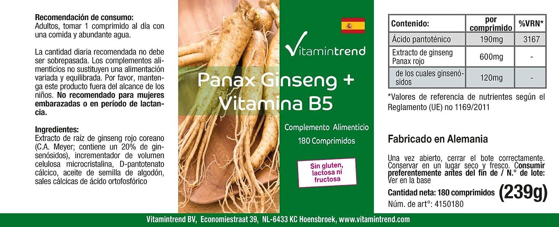 Panax Ginseng + Vitamina B5- 180 Comprimidos - Vegano ...