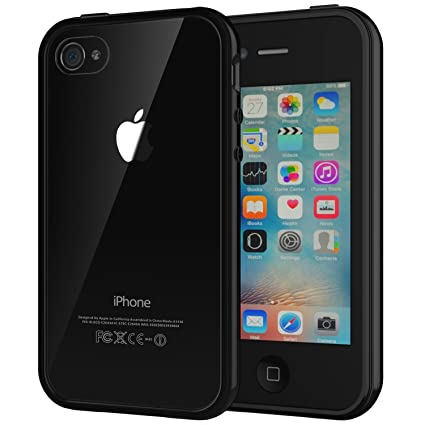 new concept 523f0 1ba28 JETech Case for Apple iPhone 4 and iPhone 4s Shock-Absorption Bumper Cover  Anti-Scratch Clear Back (Black)