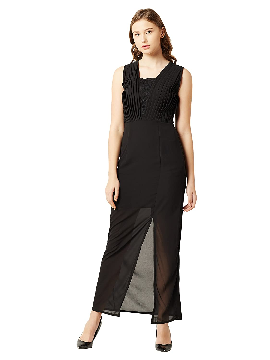 157145e05b Miss Chase Women s Black Sheer Lace Maxi Dress  Amazon.in  Clothing    Accessories