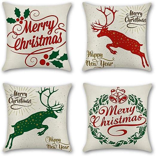 "18/"" Cotton Linen Elk Socks Pillow Case Cushion Cover Merry Christmas Home Decor"