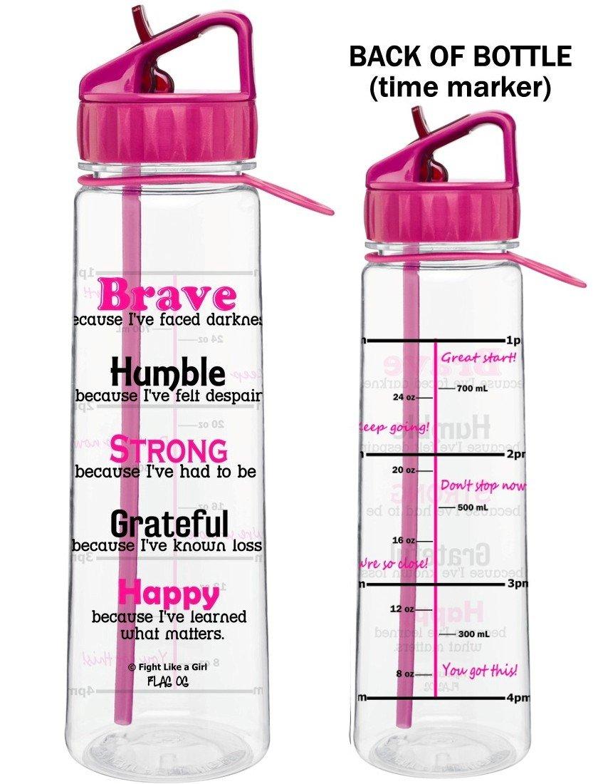 Motivational ''Brave Because I've Faced Darkness'' Fitness Water Sports Bottle w/ Time Marker, Measurement Goals, & Inspirational Quotes | SlimKim II | Perfect Breast Cancer Survivor Gift (Hot Pink)