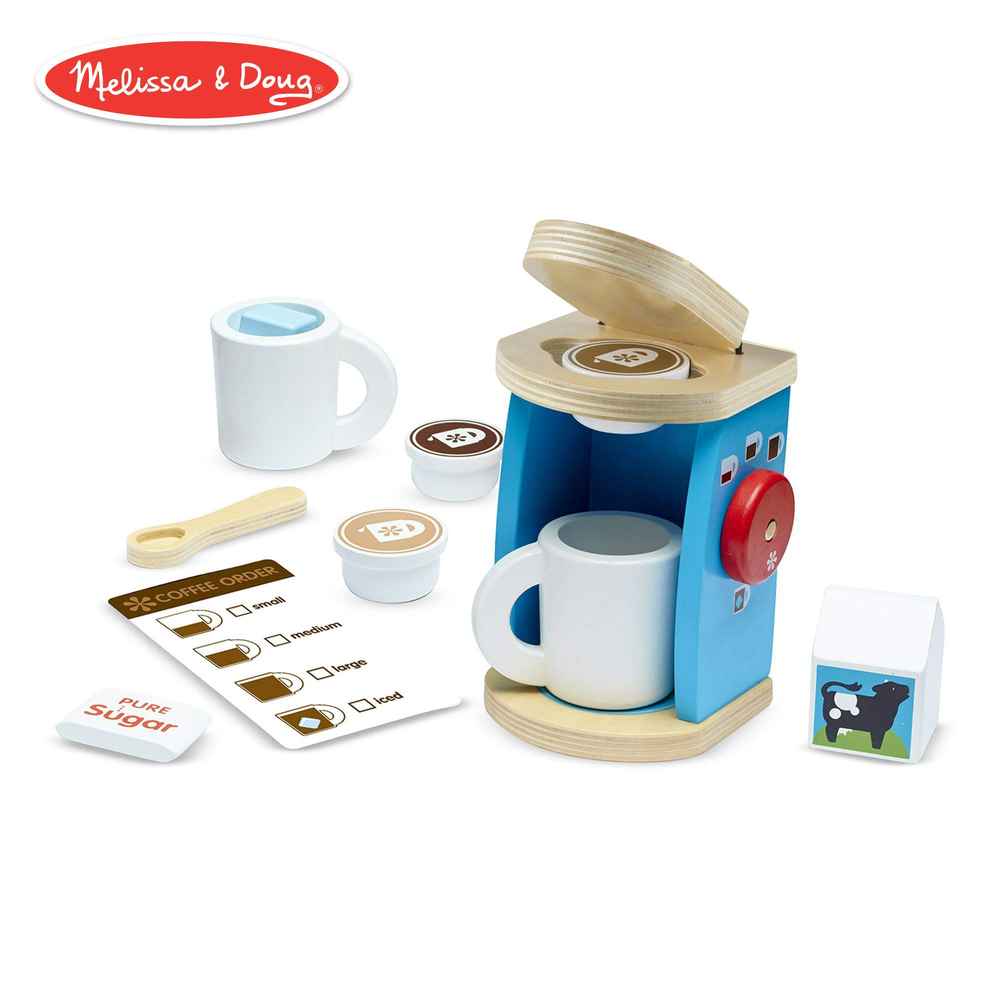 Melissa & Doug Brew & Serve Wooden Coffee Maker Set, Play Kitchen Accessories, Encourages Imaginative Play, 12 Pieces, 10'' H x 13'' W x 4'' L