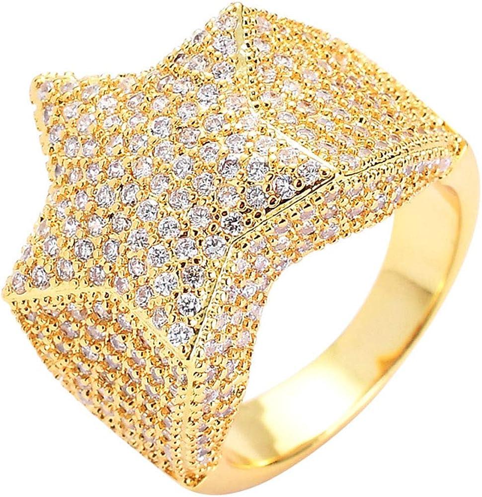 Tanwenling33 Bague Iced Out Bague Hip Hop Homme Diamant Simul/é /Étoile 3D Anneau Pentagramme Argent Or pour Engagement des Soir/ées