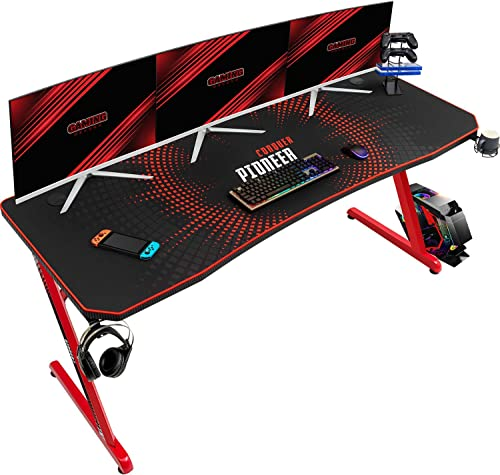 Reviewed: Devoko 63 Inch Gaming Desk Computer Gaming Desk Z-Shaped Pc Gaming Desk