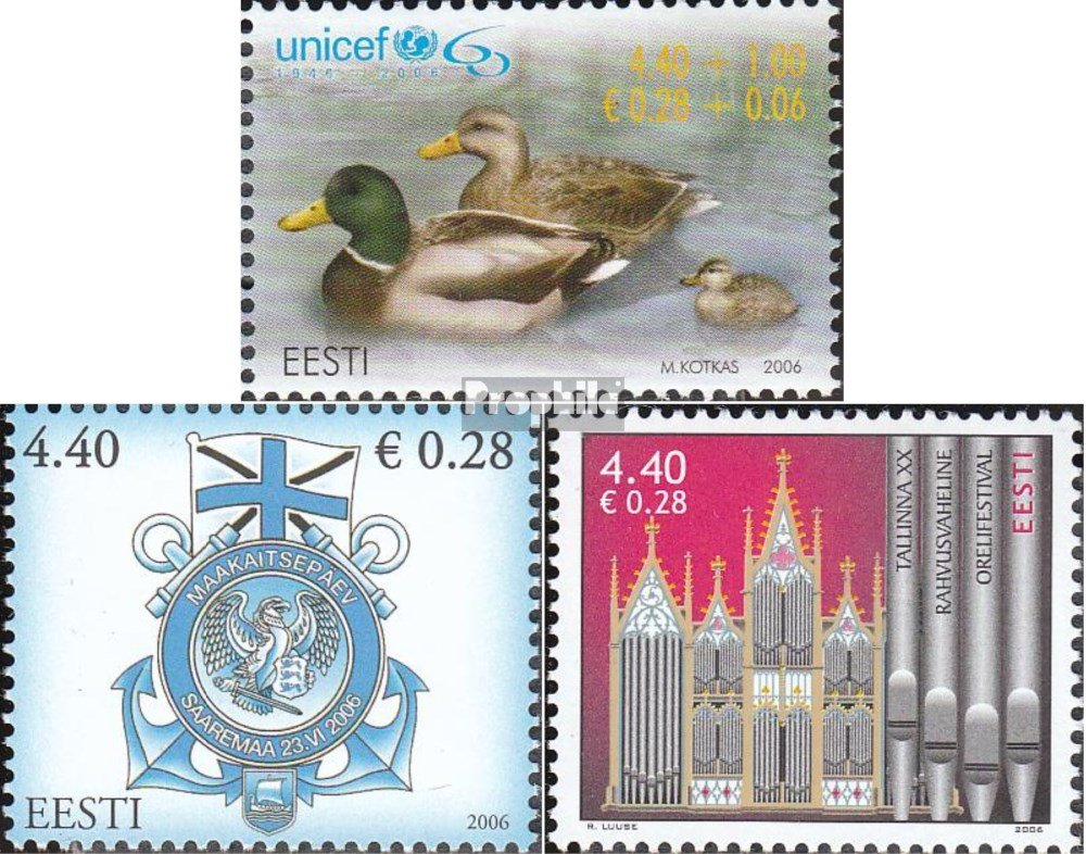 Prophila Collection Estonia 559,562,563 M/úsica de /Órgano Completa.edici/ón. Flota Sellos para los coleccionistas 2006 UNICEF