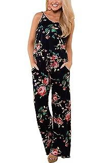 ca017f3c08d Hibluco Women s Casual Halter Romper Off Shoulder Floral Backless Jumpsuit  with Pockets