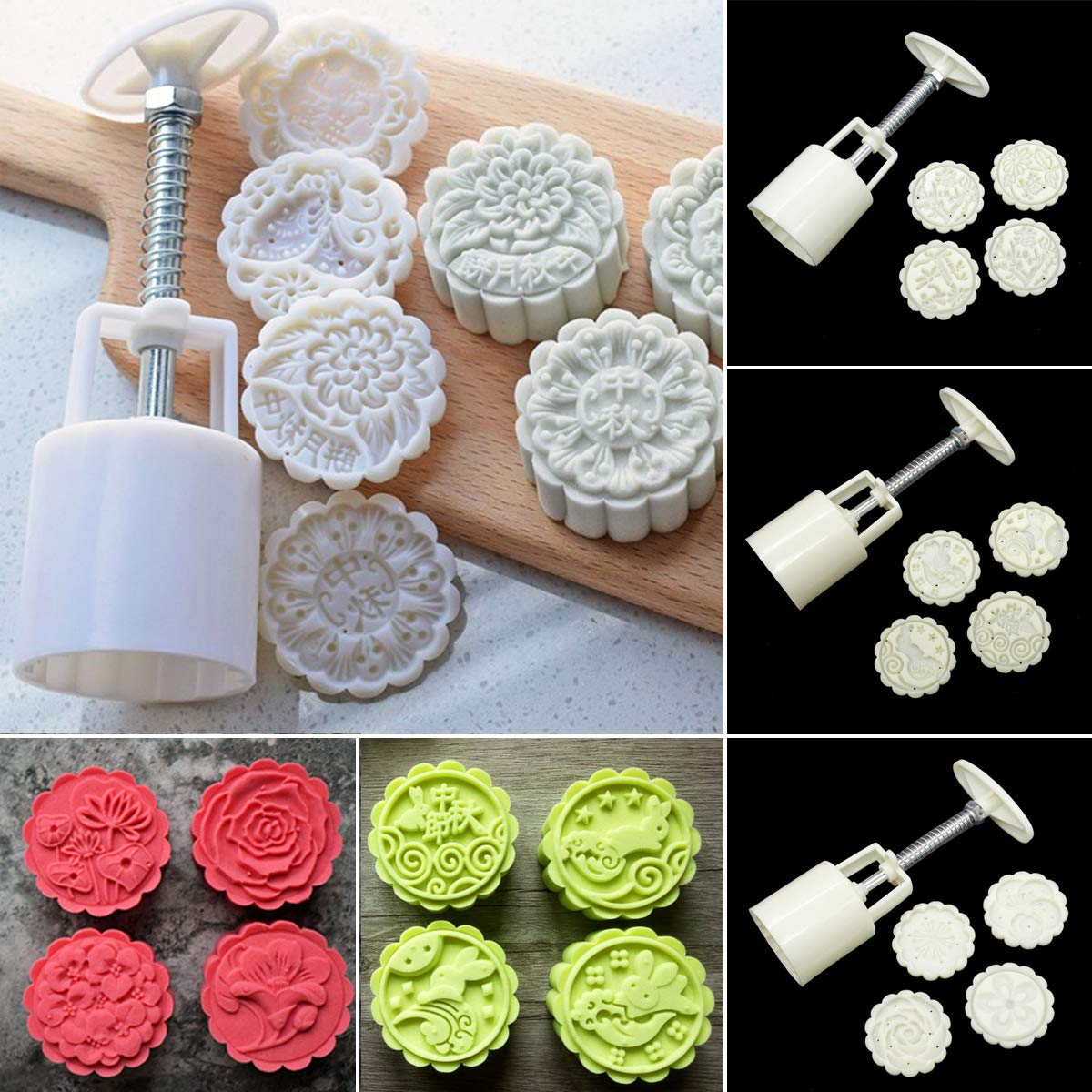 1 Chinese Style Mooncake Mold 5Pcs//Set 4 Flower Round Stamps Plunger Dough Press Baking Mould DIY Pastry Cake Decorating Tools Katoot