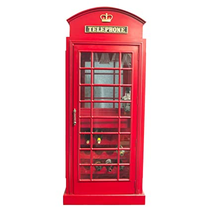 Preferred Amazon.com: Red British Phone Booth London WINE BAR Cabinet old  TR47