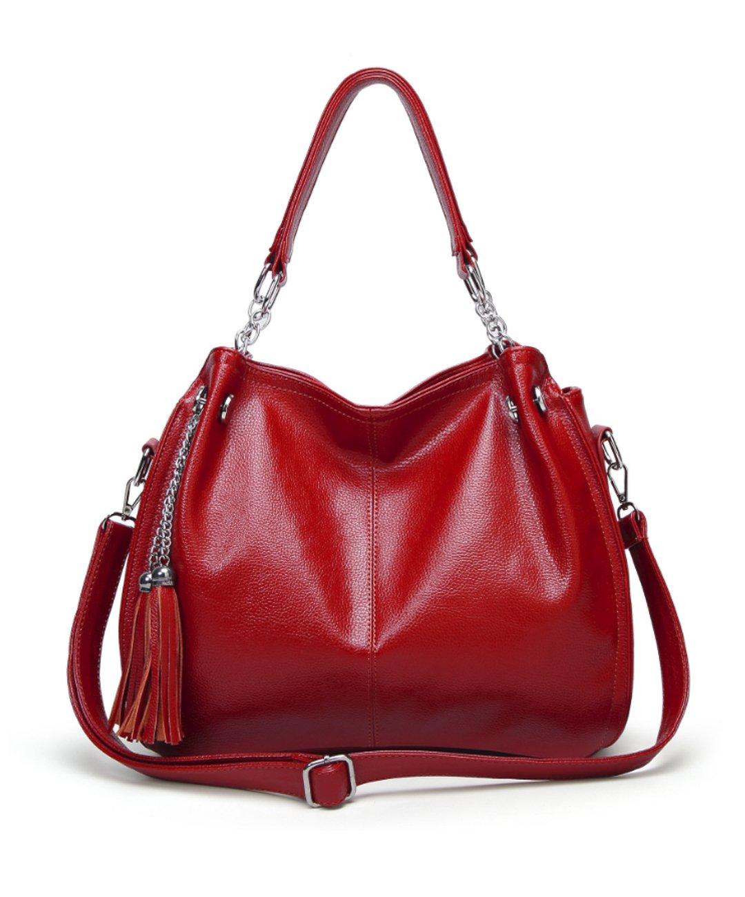 Women's Vintage Fine Fibre Genuine Leather Bag Tote Shoulder Bag Handbag Model RIDE Red Wine