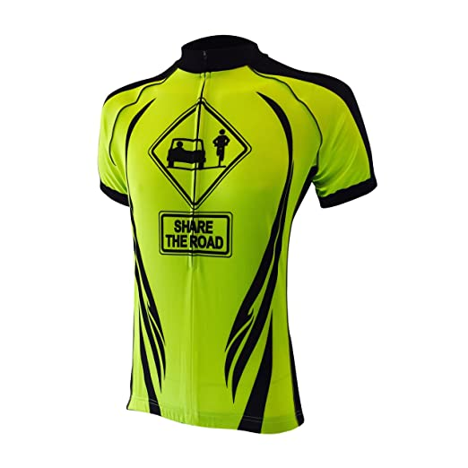 Amazon.com  Peak 1 Sports Share The Road Men s Cycling Jersey Yellow ... 2035f8d39
