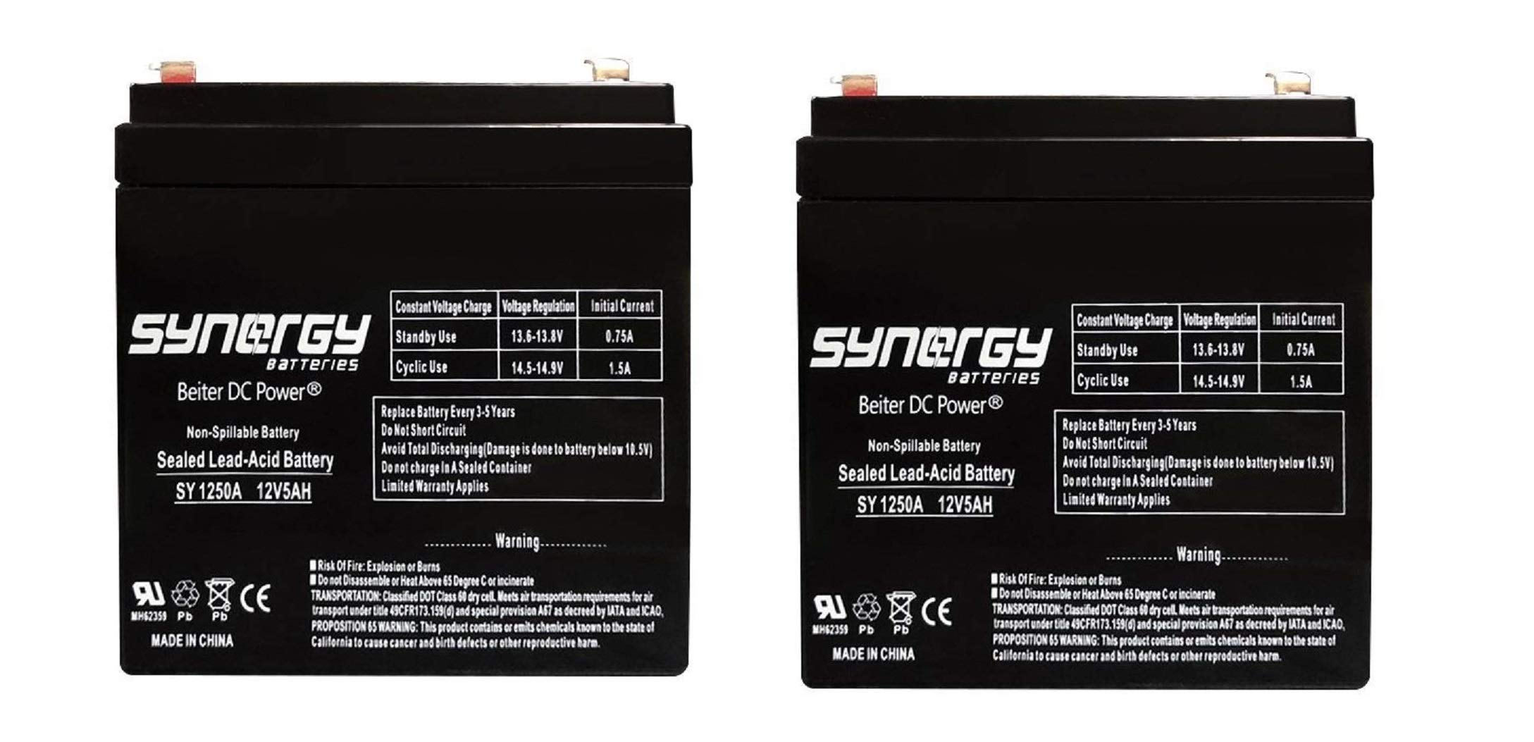 Razor E100 E125 E150 Electric Scooter battery 12V 5AH - 2 Pack (PK1250) by Beiter DC Power