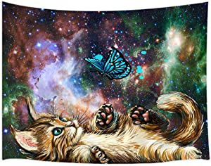 "Cat Wall Tapestry Cool Funny Kitten Playing With Butterfly Starry Sky Nebula Galaxy Artwork Milky Way Space Psychedelic Tapestry Wall Hanging Home Decor Dorm Livingroom Bedroom Wall Blanket 71""x60"""