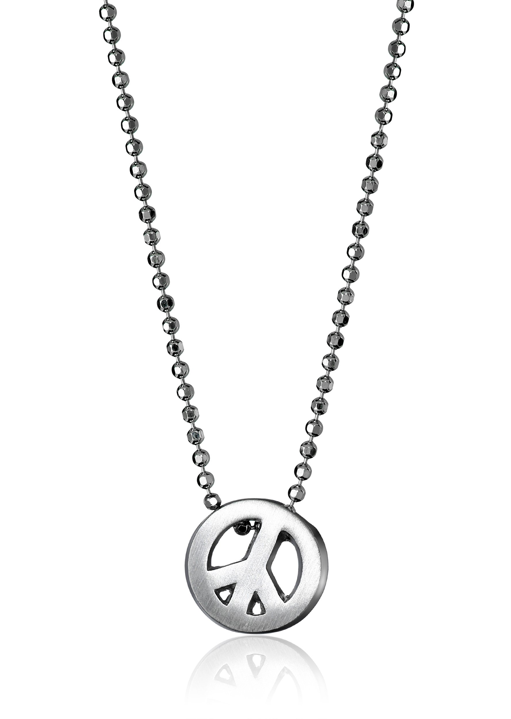 Alex Woo Little Faith Sterling Silver Peace Sign Pendant Necklace