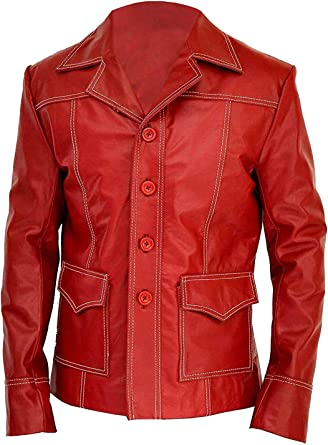 Handmade Men Fight Club Red Leather Jacket