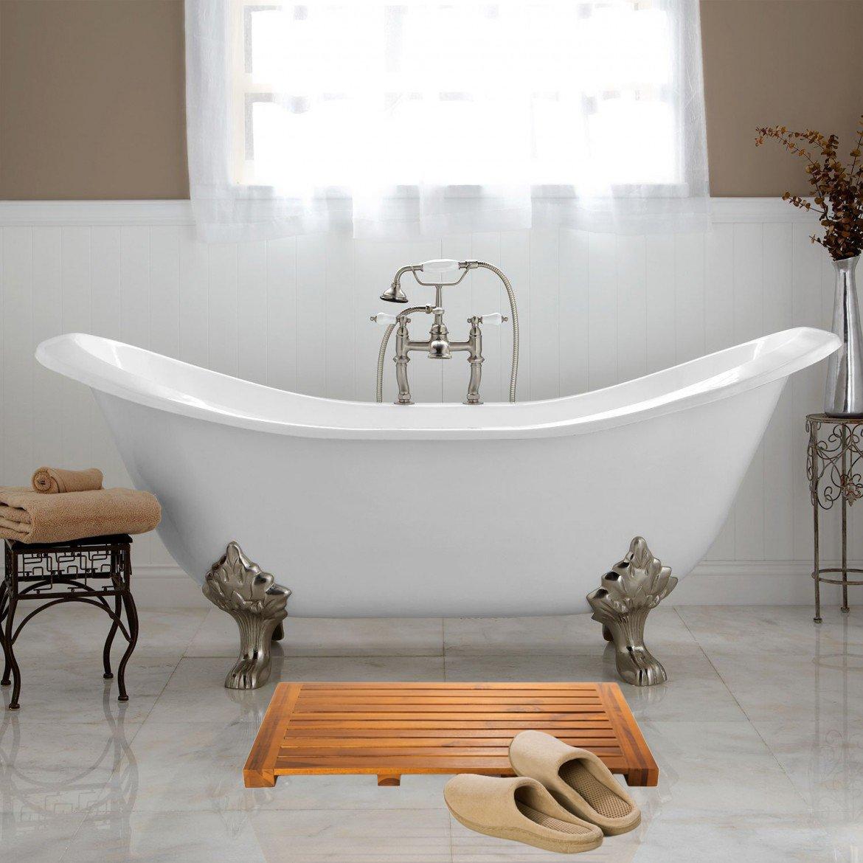 Taymor Teak Bath Mat Solid Natural Wood Luxury Spa Floor Rug For Bathroom Shower