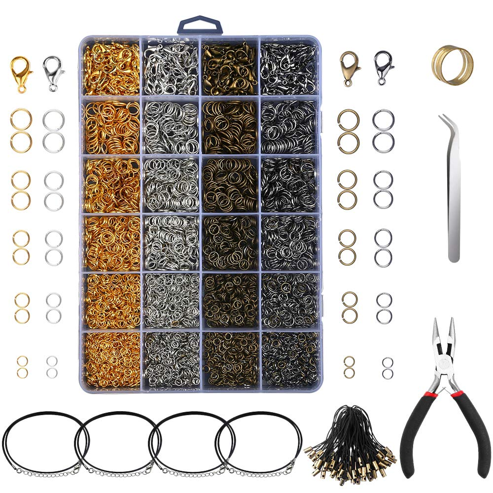 Yblntek 3143Pcs Jewelry Findings Jewelry Making Starter Kit with Open Jump Rings, Lobster Clasps, Jewelry Pliers, Black Waxed Necklace Cord for Jewelry Making Supplies and Necklace Repair by YBLNTEK