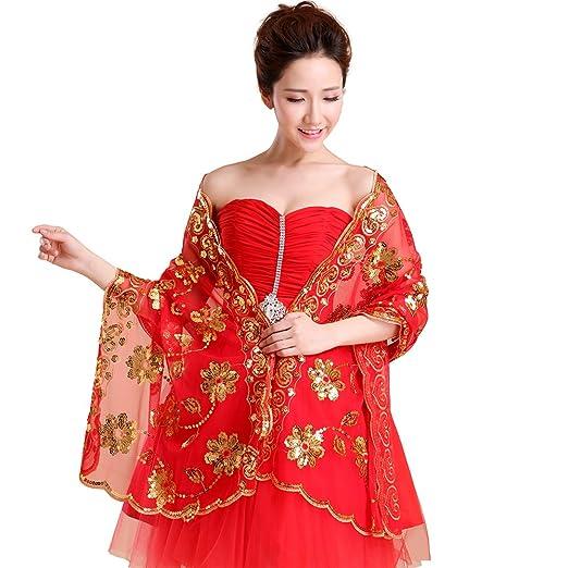 816e1af5e6 Kanrome Women's Sequined Wedding Shawl Wrap Brides Cover Up Pashina (Gold)