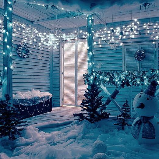 Catena Luci 200 Led Con 8 Funzioni Di Illuminazione Giochi di Luce Perfetta Per Decorare La Vostra Casa Tenda Con Cascata Luminosa Da Esterno 3 Metri