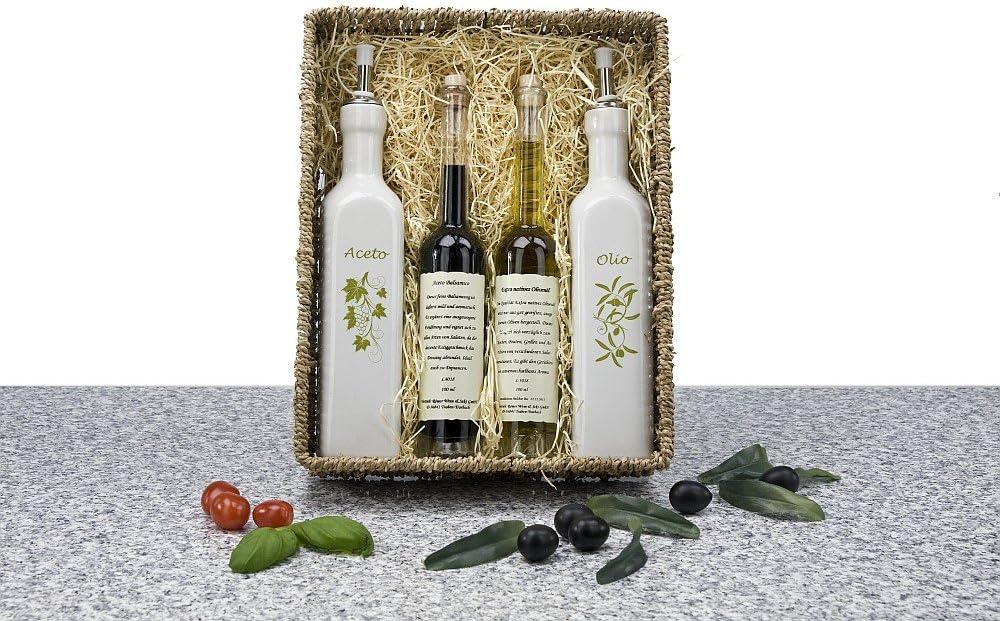 DasBesondereGeschenk Panier cadeau Huile dolive et vinaigre avec bec verseur