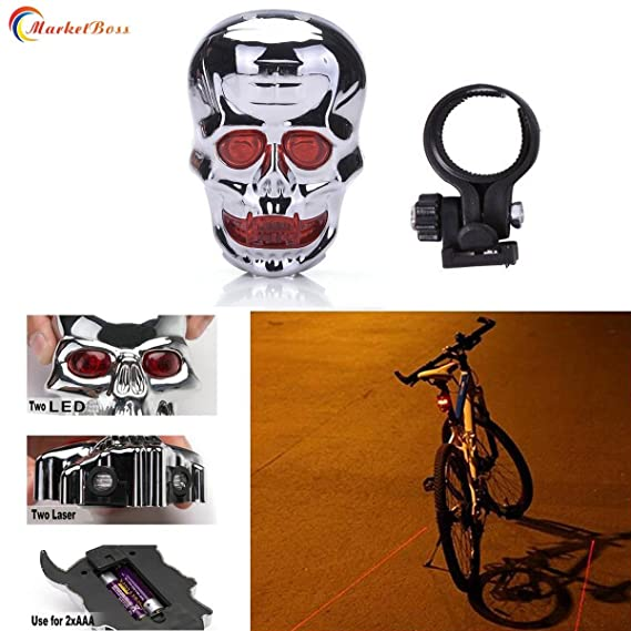 Ghost Head Led Bike Light Bicycle Silicone Rear Safety Warning Wheel Led Lamp BR