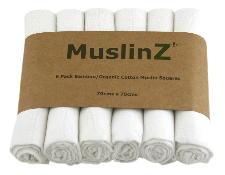 Muslinz Luxury Bamboo/Organic Cotton Muslin Squares (70 cm, White, Pack of 6) MUZBC-6W70