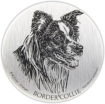 Schecker Selbstklebende Silberfarbene Metallplaketten Border Collie Wetterfest Autoaufkleber Esser Haustier