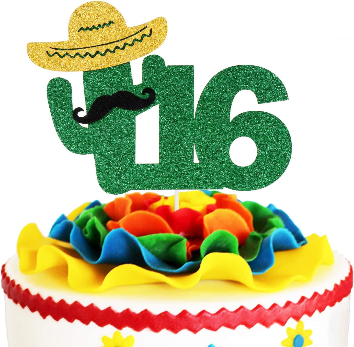 Fiesta 16th Birthday Cake Topper Green Glitter Mexican Fiesta Cake Supplies Cheers to Sweet 16 Boys Girls Sixteen Years Old Birthday Party Decoration