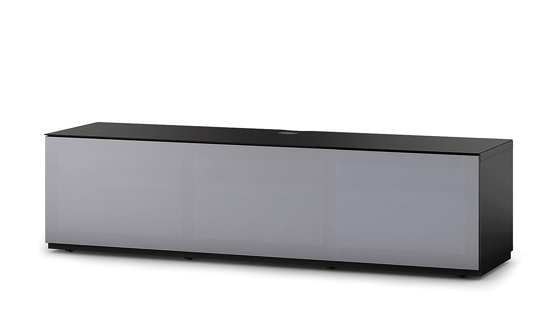Sonorous STA 160T-BLK-GRY-BW hängende TV-Lowboard mit Sockel, schwarzer Korpus, obere Fläche, gehärtetem Schwarzglas und Klapptür mit grauem Akustikstoff