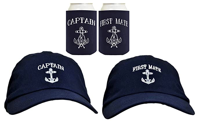 Funny Sailing Captain First Mate Hat Embroidered Cap Funny Beer Coolies Can  Coolers Gift Set Bundle aed3e28734c7