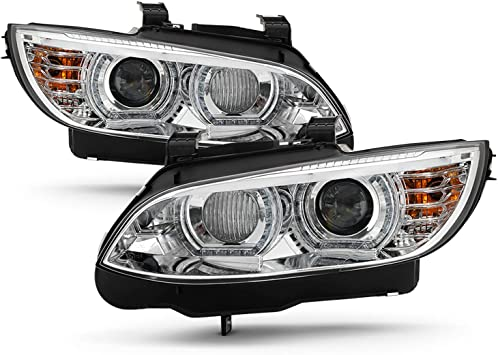 Amazon Com Fits 2007 2010 Bmw 328i 328xi 335i 335xi M3 3 Series Coupe Convertible Led Projector Hid Xenon Chrome Headlights Pair Automotive