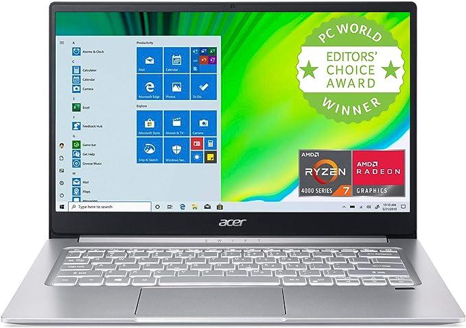 "Acer Swift 3 Thin & Light Laptop, 14"" Full HD IPS, AMD Ryzen 7 4700U Octa-Core with Radeon Graphics, 8GB LPDDR4, 512GB NVMe SSD, Wi-Fi 6, Backlit KB, Fingerprint Reader, Alexa Built-in, SF314-42-R9YN | Amazon"