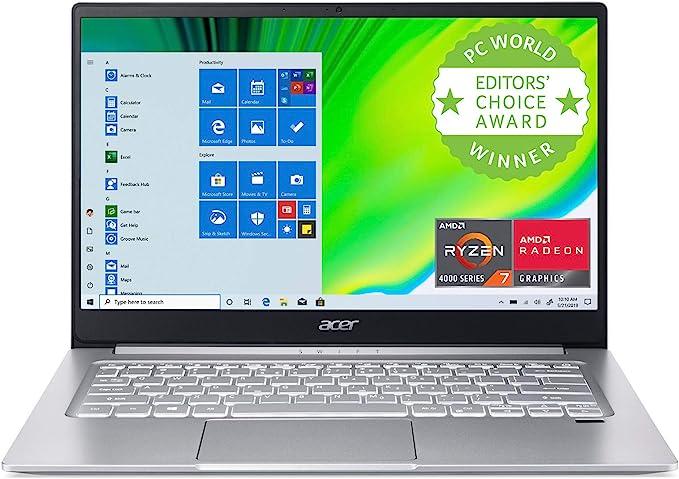 "Amazon.com: Acer Swift 3 Thin & Light Laptop, 14"" Full HD IPS, AMD Ryzen 7 4700U Octa-Core with Radeon Graphics, 8GB LPDDR4, 512GB NVMe SSD, Wi-Fi 6, Backlit KB, Fingerprint Reader, Alexa Built-in, SF314-42-R9YN: Computers & Accessories"