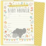 Amazon Com 30 Invitations Yellow Gray Elephant Baby Shower
