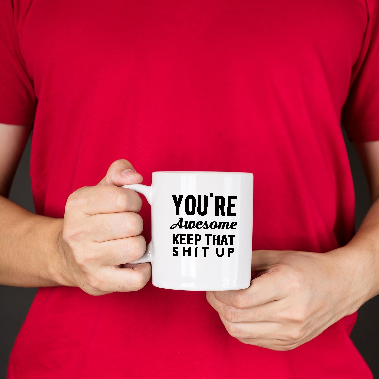 Giftideaworkshop Youre Awesome Keep That Shit Up Funny Coffee Mug Set 11oz,Novelty Gifts for Men and Women,Best Friend,Office Coworker,Birthday,Christmas Gifts