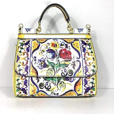 e6eb86d58 BAG Estampado de Flores Pintado Bolso de Hombro del totalizador Siciliano Vintage  Estilo étnico Bolso de