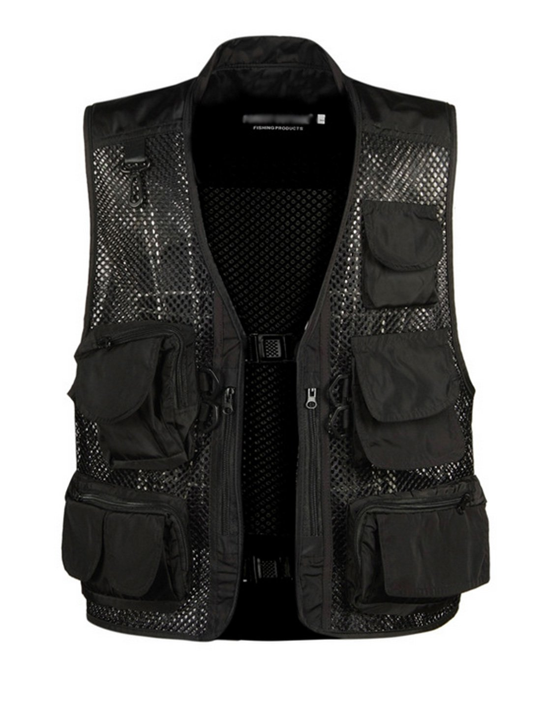 Gihuo Men's Outdoors Utility Hunting Travels Tactical Mesh Removable Vest with Multiple Pockets (L, Black)