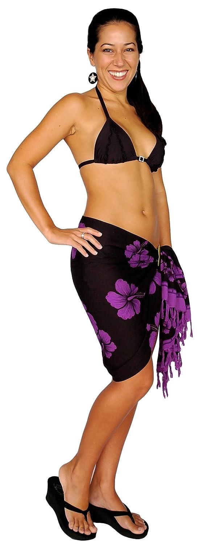 1 World Sarongs Girls Hibiscus Floral Half Sarong