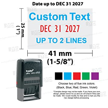 Amazon Com Trodat 4750 Self Inking Date Stamp With Custom 2 Line