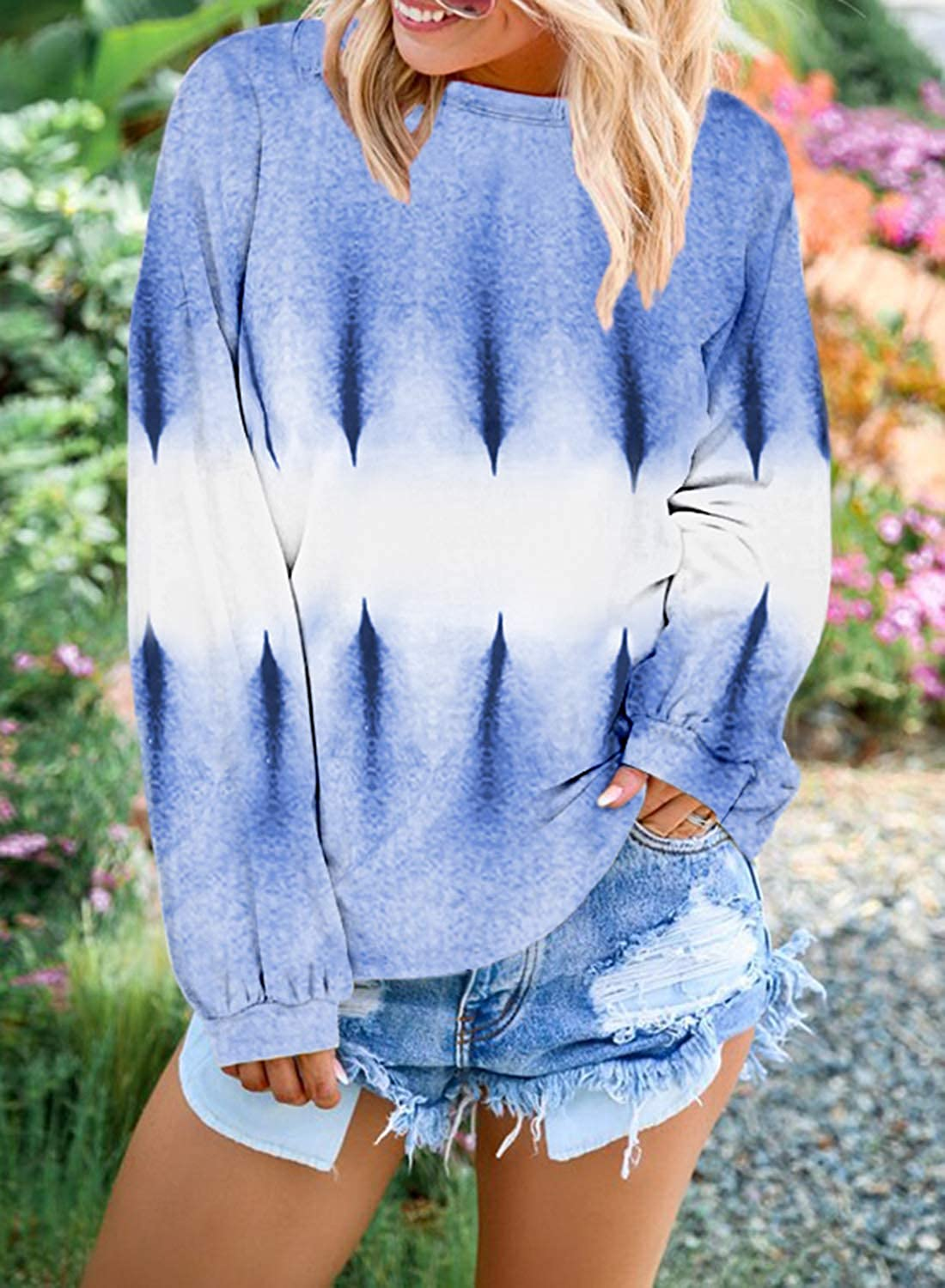 Yidarton Sweat-Shirt Femme Casual Manches Longues Col Rond Gradient Color Block Pullover Pull Tops