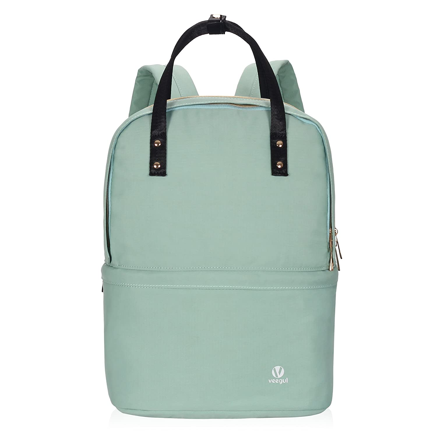 d318020fc30a Veegul Convertible Double Desk Backpack Multifunction Daypack Lightweight  Bookbag 16L Mint Green